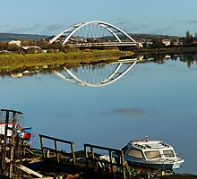 River Usk & City bridge, Newport, Wales  by buttonpresser