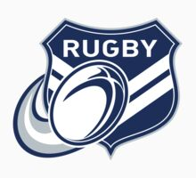 rugby ball and shield by patrimonio