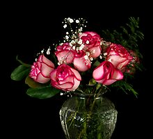 Pink Roses in a Glass Vase by Mark Van Scyoc