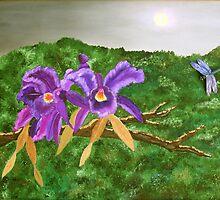 Purple Orchids By Moonlight by Alanna Hug-McAnnally
