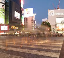 Ghost Walkers II at Shibuya Crossing, Tokyo, Japan by Emily Mogic