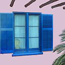 Blue window at the pink Arizona Inn by DAdeSimone
