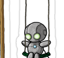 Lonely Robot on a Swing Sticker