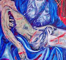 Pieta after michelangelo very blue by barbzart2011