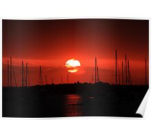 beautiful sunrise over the harbor Poster