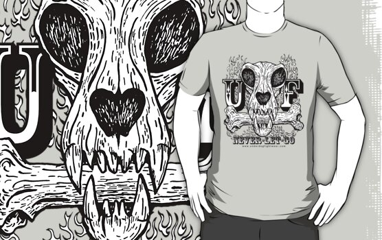 UNDERDOG skull & bone UF, light tee by Underdogg