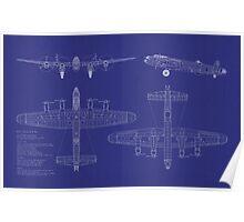 Avro Lancaster Bomber Blueprint Poster