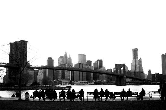 Brooklyn Bridge Admirers by tomduggan