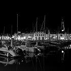 Binic Marina at Night Brittany B & W by James  Key