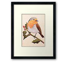 a robin on a holly berry tree Framed Print