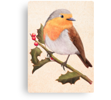 a robin on a holly berry tree Canvas Print
