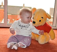 Skye With Pooh Bear by Jim Wilson
