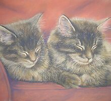 Two Mackerel Tabbies Dreaming of Fish by BarbaraBird