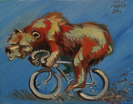 Grizzly on a Bicycle by Ellen Marcus