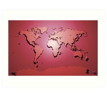 World Map in Red Art Print
