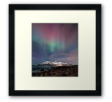 Aurora Borealis at the beach Framed Print