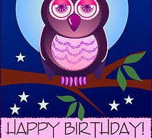 Happy Birthday card with Owl by walstraasart