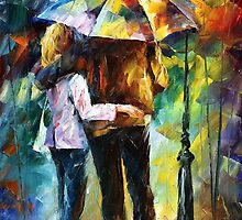 bonded by rain - original oil painting on canvas by Leonid Afremov by Leonid  Afremov