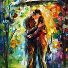 Kiss In The Park - original oil painting on canvas by Leonid Afremov by Leonid  Afremov