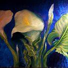 Calla Lilies Against Blue Wall, 2 by Barbara Sparhawk