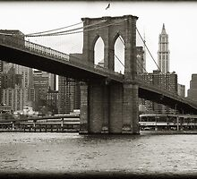 Brooklyn Bridge is one of the oldest suspension bridges in the United States. New York City Skyline Cityscape. by upthebanner