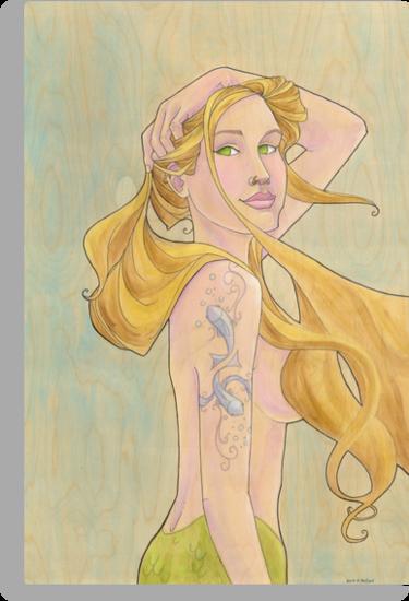 Tattooed Mermaid by Karen  Hallion