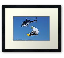 helicopter and snowboarder Framed Print