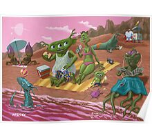 alien beach vacation Poster