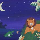 Alligator, Lion, and Cub (Jungle Nursery Landscape)  by qarrie