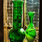 Green vases in the window by browncardinal8