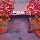 Crossing the Old Bridge, watercolor by Anna  Lewis