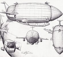 Diagram of a Zeppelin made from Spare Parts by Krystal Frazee