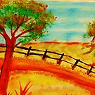 Old  Fence by the Road, watercolor by Anna  Lewis