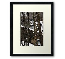 Old water-mill in winter time Framed Print