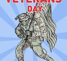 Veterans Day American soldier serviceman  flag  by patrimonio