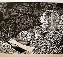 Sleeping Girl- xylography by Amanda Heigel