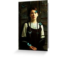 Girl with Blue Butterflies Greeting Card
