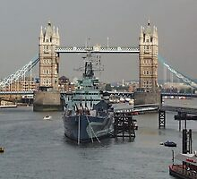 Tower Bridge and HMS Belfast, LONDON. UK by AnnDixon