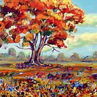 Tree in a flower meadow by Saga Sabin