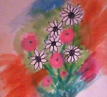 Daisey Bouquet 2  abstract/casual, watercolor by Anna  Lewis