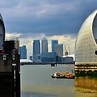 Canary Wharf & O2 Arena From Thames Barrier by John Hare
