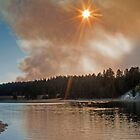 Yellowstone Sunset Fires by Robert H Carney