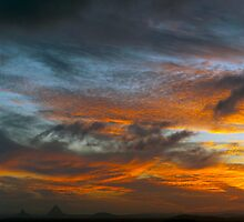 Sky Inferno - Glasshouse Mountains by Matt Haskins