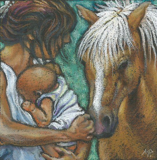 mother,child and pony by maria paterson
