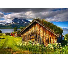 Traditional Houses at Hella, Kvaloy. Tromso, North Norway. Photographic Print