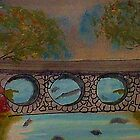 Bridge over the River in the Spring, watercolor by Anna  Lewis