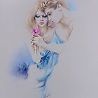 &quot;Geschenkte Rose&quot; Pastel Pencil Artwork by Sara Moon