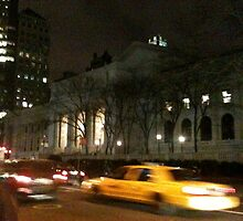 NYC Public Library Taxi by Kathy Dellow