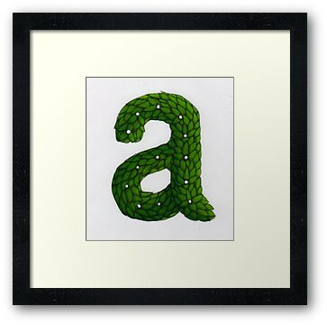 "Topiary Alphabet ""a"" Coloured by Donna Huntriss"