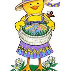 Easter Chick with Eggs by Laura J. Holman
